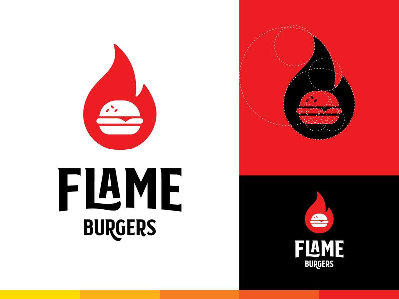 Flame Burger Logo juicy food restaurant fast food flame burger logo design modern logo abstract