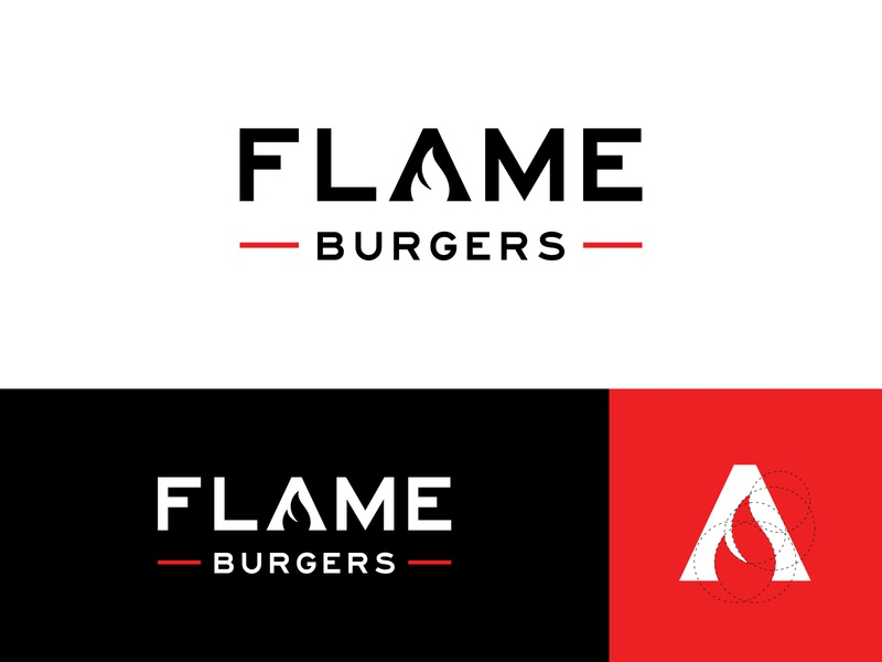 Flame Burger Logo letters letter modern abstract visual identity brand identity logo design logo burgers burger fire flame negative space letter a