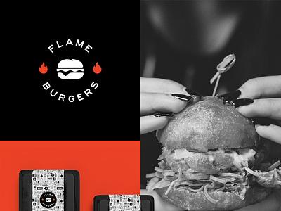 Flame Burgers modern visual identity brand identity logo design logo restaurant fast food burgers burger fire flame