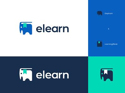 Learning Elephant innovative creative logo design learning book africa elephant sweet kids cute modern logo abstract