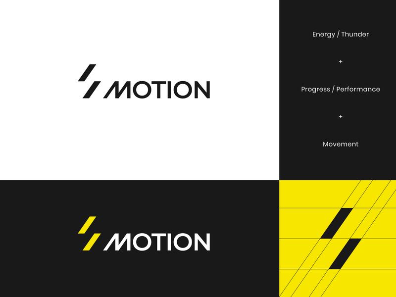 Motion Logo letter m performance yellow brand identity branding brand logo supplement sports sport thunder abstract geometric energy flow movement motion