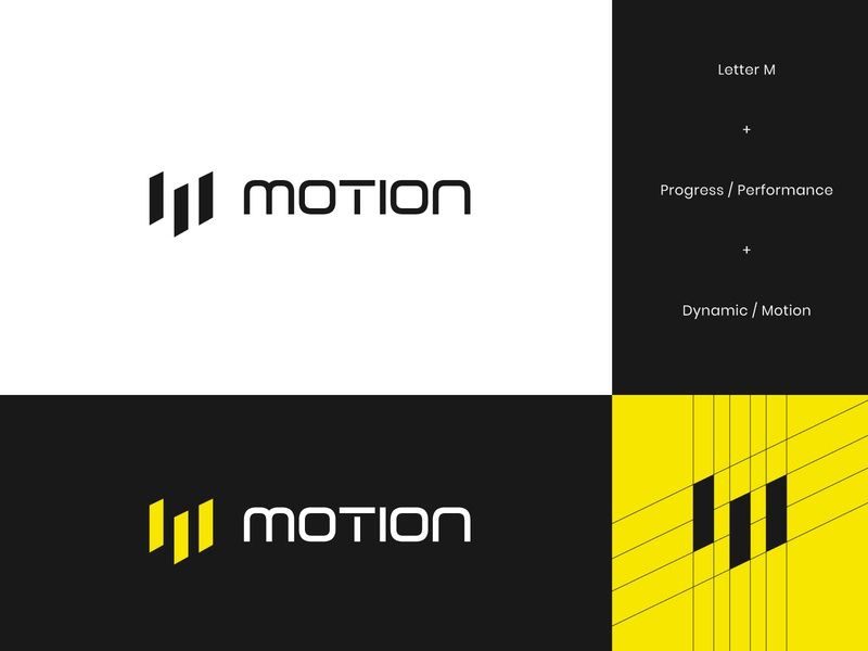 Motion Logo motion movement flow energy geometric abstract thunder sport sports supplement logo brand branding brand identity yellow performance letter m