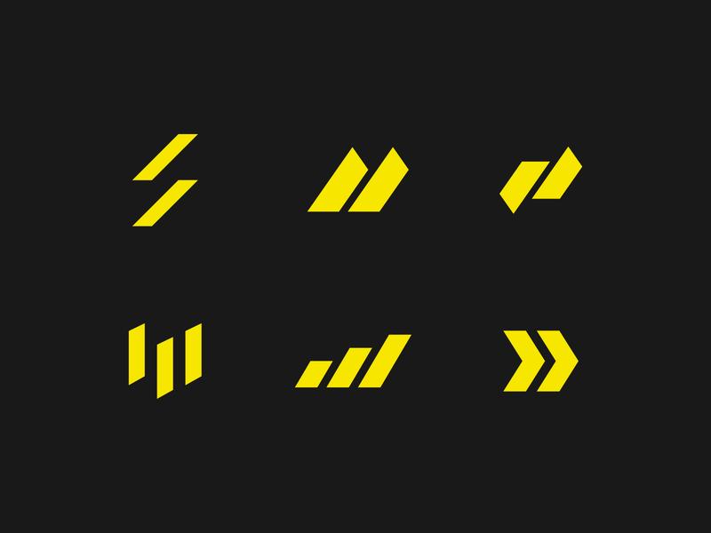 Motion Logos motion movement flow energy geometric abstract thunder sport sports supplement logo brand branding brand identity yellow performance letter m