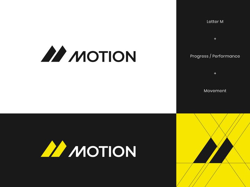 Motion Final Logo logo design branding logo design motion movement flow energy geometric abstract thunder sport sports supplement logo brand branding brand identity yellow performance letter m