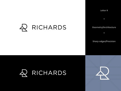 Richards Architecture Logo 1 letter r geometry visual identity brand identity architectural architects architect architecture logo design geometric letter modern logo abstract