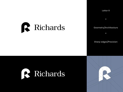 Richards Architecture Logo 2 abstract logo modern letter geometric logo design architecture architect architects architectural brand identity visual identity geometry letter r