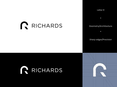 Richards Architecture Logo Design abstract logo modern letter geometric logo design architecture architect architects architectural brand identity visual identity geometry letter r