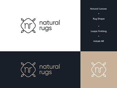 Natural Rugs modern organic rugs brand identity logo abstract knitting rug organic leaves rugs natural