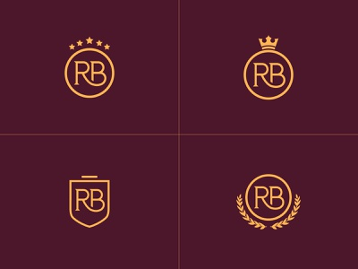 RB Monogram Shields rich hotel accommodation residence royal luxury star crown letterform monogram logo shield logo shields shield letters letter modern monogram rb