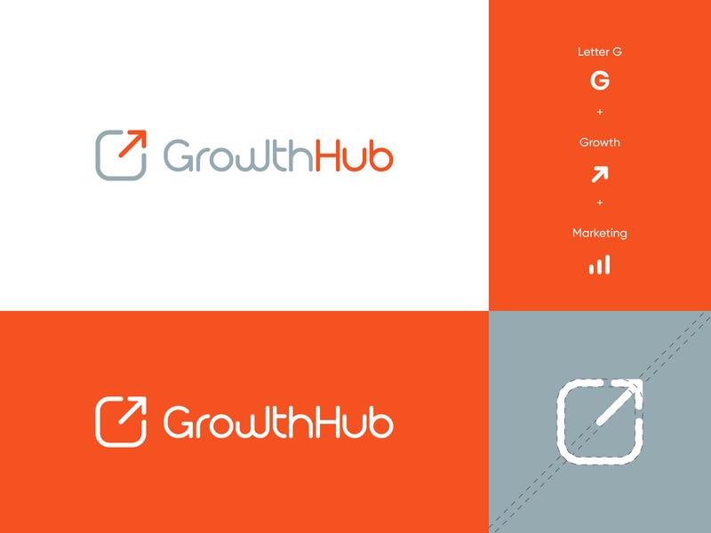 Growth Hub Logo letter logo brand identity logo design upward success logo finance marketing arrow letter g grow hub growth