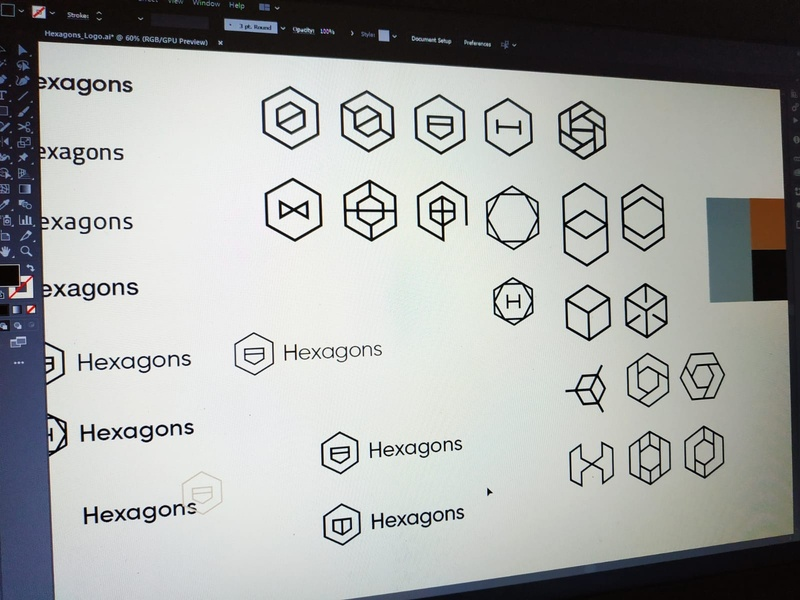 Hexagon Logo Ideas Sketches hexagon hexagons hexagonal logo logo design brand identity visual identity interior design architecture interior design logo architecture logo modern modern logo hexagon logo