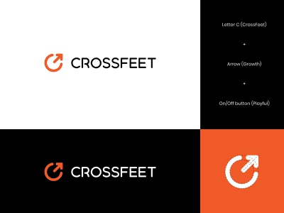 CrossFeet Logo Concept 2 crossfit socks logo energetic bold letter logo growth improvement letter c playful performance socks gym wordmark brand identity logo design letter modern logo abstract