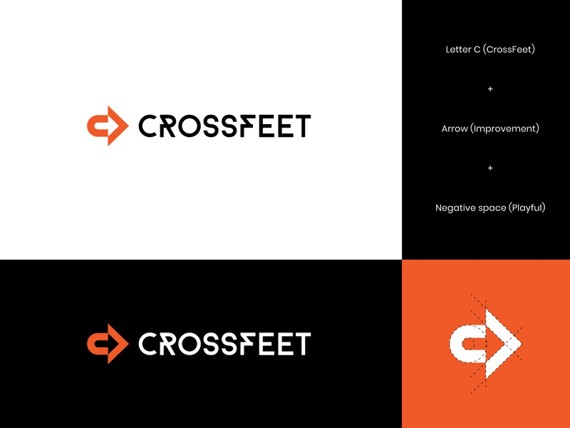 CrossFeet Logo Concept 3 crossfit athletes gym socks letter logo negativespace growth improvement letter c arrow logo arrow visual identity brand identity logo design letter modern logo abstract
