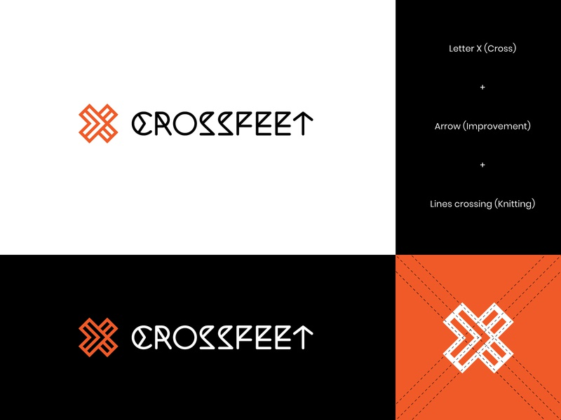 CrossFeet Logo Concept 4 knitting letter x logo letter x arrow logo arrow athletes socks logo socks gym visual identity letterform wordmark brand identity logo design letter modern logo abstract