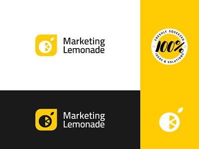 Marketing Lemonade 3 marketing logo yellow logo lemon logo juicy lemon abstract lemonade marketing yellow branding brand identity visual identity logo design logo modern