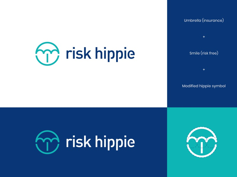 Risk Hippie Logo 4 finance hippie logo umbrella logo insurance logo insurance risk logo umbrella hippie risk abstract branding brand identity visual identity logo design logo modern
