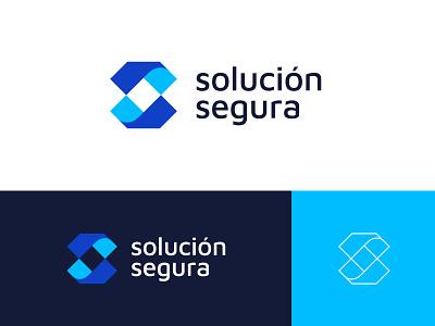 Solucion Segura letters monogram corporate security solutions blue insurance risk risk broker insurance abstract branding brand identity visual identity logo design logo modern