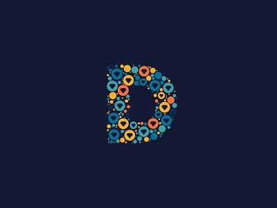 Dotted Monogram Letter D logo design logo modern abstract monogram logo letter logo letters letter fun alphabet colorful colors project monogram dotted dots dot