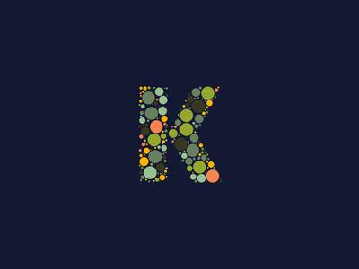 Dotted Monogram Letter K