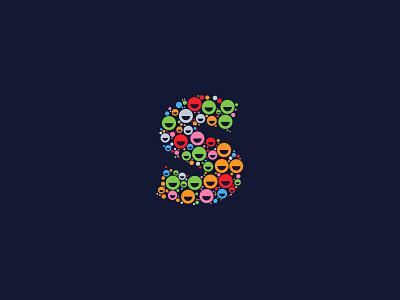 Dotted Monogram Letter S logo design logo modern abstract monogram logo letter logo letters letter fun alphabet colorful colors project monogram dotted dots dot