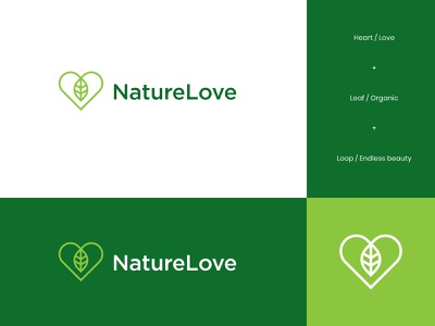 Nature Love Logo visualidentity brandidentity logodesign logo organiclogo love green natural eco snacks organic nature leaf heart