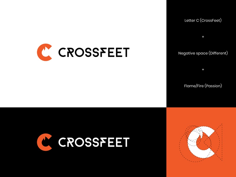 CrossFeet Logo Concept 1 abstract logo modern letter logo design brand identity visual identity arrow logo arrow improvement growth negative space letter logo socks gym athletes crossfit