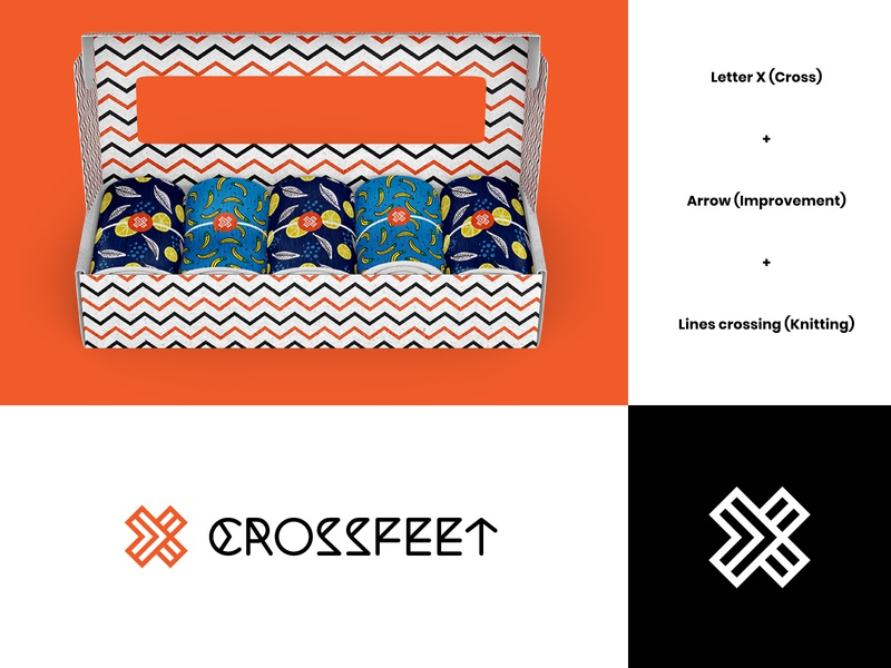 CrossFeet Final Logo wordmark visual identity socks logo socks modern logo design letter x logo letter x letterform letter knitting gym brand identity athletes logo arrow abstract