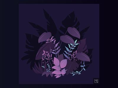 PEACEFULL purple calm leaf vegetal design illustration