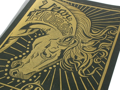Year of the Horse Print blockprint block print illustration gold hand lettering year of the horse horse typography print making