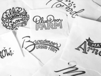 Hand lettered farm names