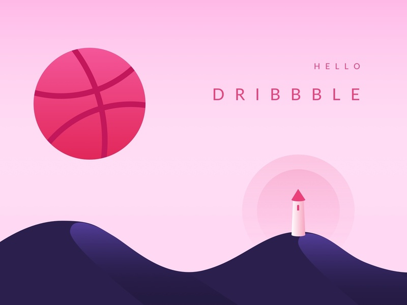 Hello Dribbble thanks first shot firstshot dribbble flat vector illustration
