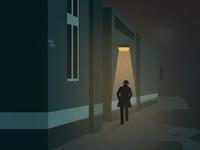 weekly illustration challenge - Rainy night