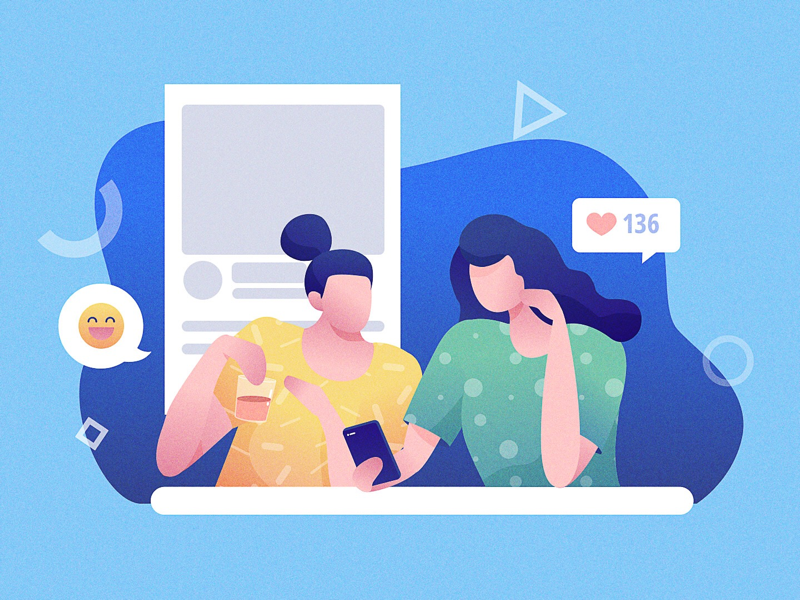Social network flat people character mobile social network illustration