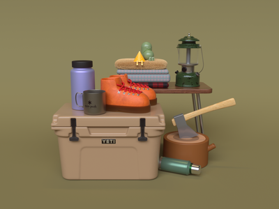 Camp Essentials character cinema 4d outdoors boots cooler camping illustration 3d c4d