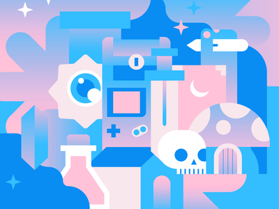 Bubblegum Gaming mailer box packaging pattern design gaming vector illustration