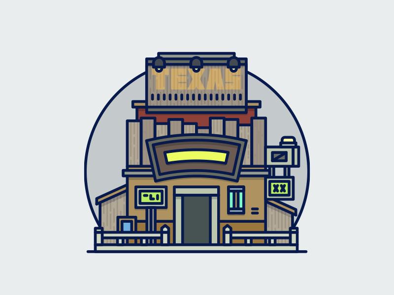 7th Heaven gaming illustration icon rpg final fantasy ff7 bar sign flat vector outline building