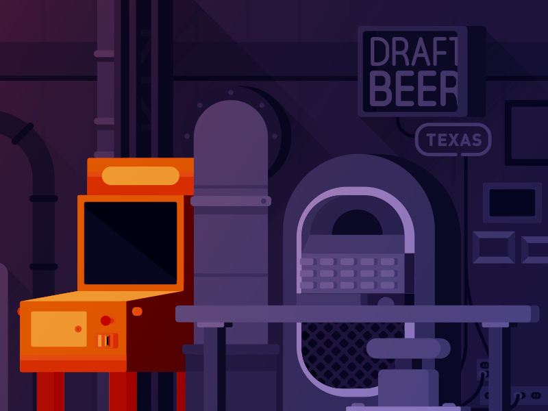 Secret Elevator pinball building vector flat bar city gaming ff7 final fantasy rpg illustration