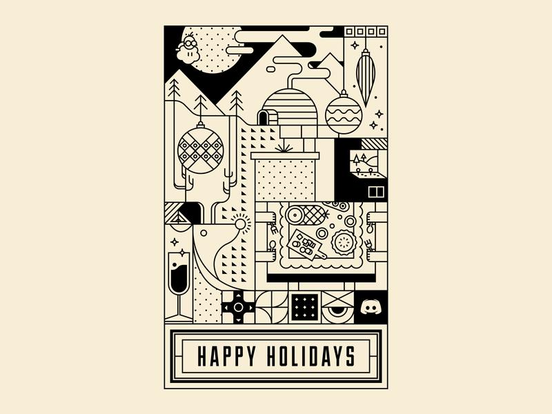 Discord Holiday vector christmas holiday winter greeting card gaming line illustration