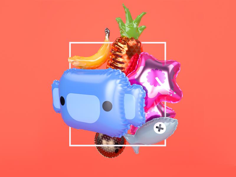 party balloons tropical hawaiian wumpus illustration design octane cinema4d c4d 3d