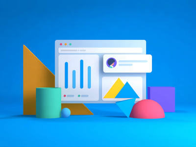 Carta Splash minimalistic graph charts shapes 3d animate people uxui animated icon finance ui c4d animation technology motion illustration app