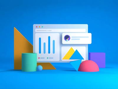 Carta Splash minimalistic graph charts shapes 3d animate people uxui animated icon finance ui c4d animation technology motion illustration app