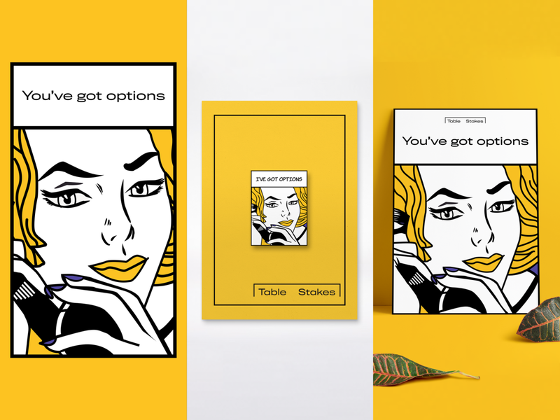 Table Stakes typography enamel pin comic vector tech women design branding flat people pin fair illustration