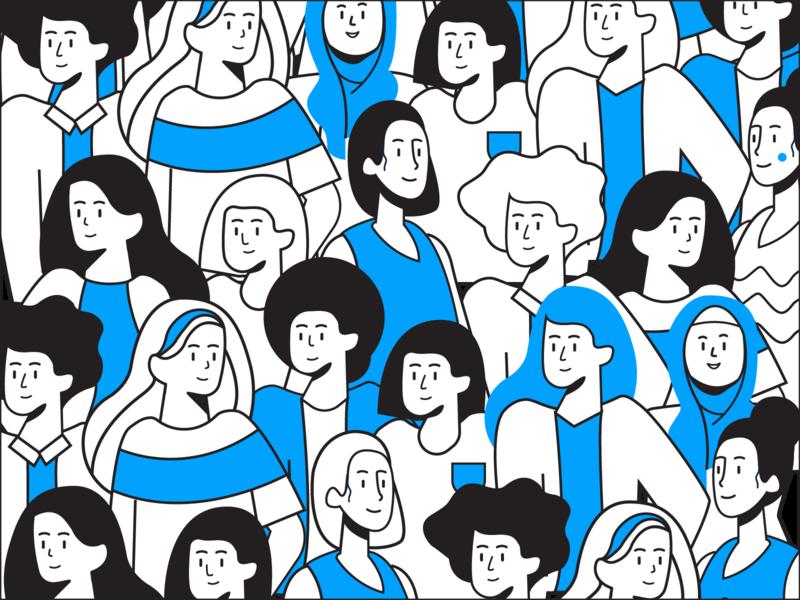 Doodles pattern doodle tech women lineart people illustration