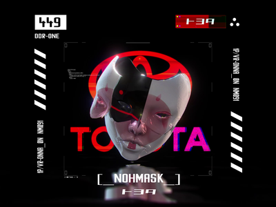 Toyota Noh Mask ui motion japan interface noh ona women mask tech logo future glitch tech toyota cyberpunk ghost in the shell
