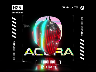 Acura Hitotsume Mask tech logo tech type typography design motion futuristic ui japan glitch future cyberpunk mask