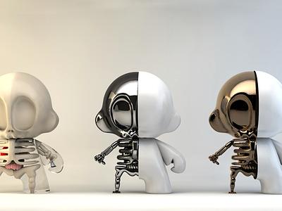 Brass Skull Monkeys #2 c4d cinema 4d munny skull monkeys brass animation motion graphics skeleton