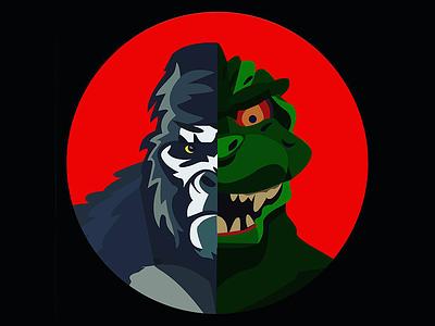 King vs God versus illustration characters gorilla dinosaurs kong king kong godzilla