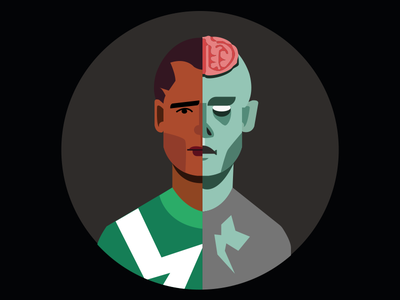 Dead vs Man illustration characters half versus horror movie dead zombie
