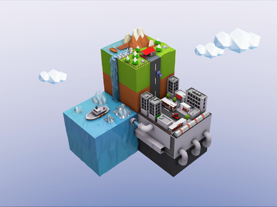 Craft World c4d blocks buildings nature environment 3d isometric craft