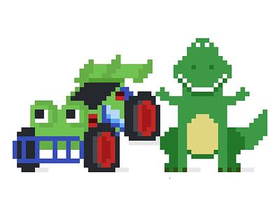 Toy Story Dribbles #3 pixelart pixel pixar remote toys disney rc car dinosaur toy story